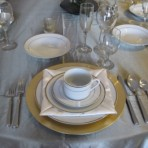 Ivory China Set with Gold Trim