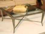 Coffee Table, Glass with Wrought Iron Frame