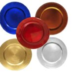 Lacquered Chargers, Gold, Silver, Red, & Blue