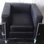 Leather & Chrome Chair, Black