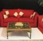 Cloth & Metal Sofa, Loveseat & Chair, Red