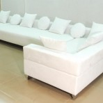 Suede Sectional, White