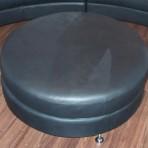 Round Leather Ottoman, Black