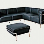Leather & Chrome Sectional with Ottoman, Black