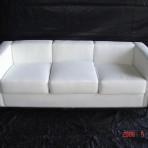Leather & Chrome Sofa, White