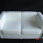 Leather & Chrome Loveseat, White