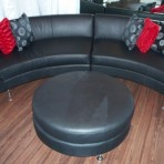 Curved Leather Sectional, Black