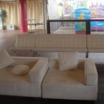 Barcelona Set, White (back) & Suede Sectional, White (front)