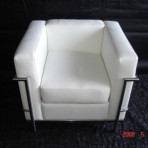 Leather & Chrome Chair, White