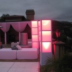 4 X 4 Lounge Bed, White & Light Up Columns, Pink