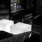 Leather & Chrome Chairs, Black, with Light Up Cubes