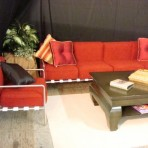 Cloth & Metal Sofa, Red