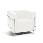 Leather & Chrome Chair, White