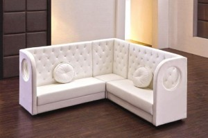 Leather Tufted Lounge Package includes 2 End/Arm Pieces, 2 Booths, 1 Corner Piece, and 2 Round Pillows.