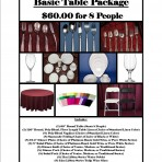 Basic Table Package for 8 People for $60.00