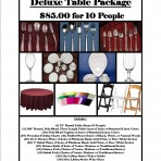 Deluxe Table Package for 10 People for $85.00