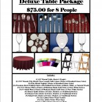 Deluxe Table Package for 8 People for $75.00